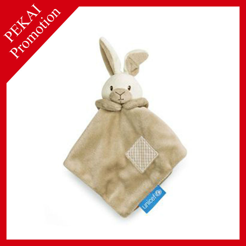 plush rabbit baby blanket with applique, baby security blanket