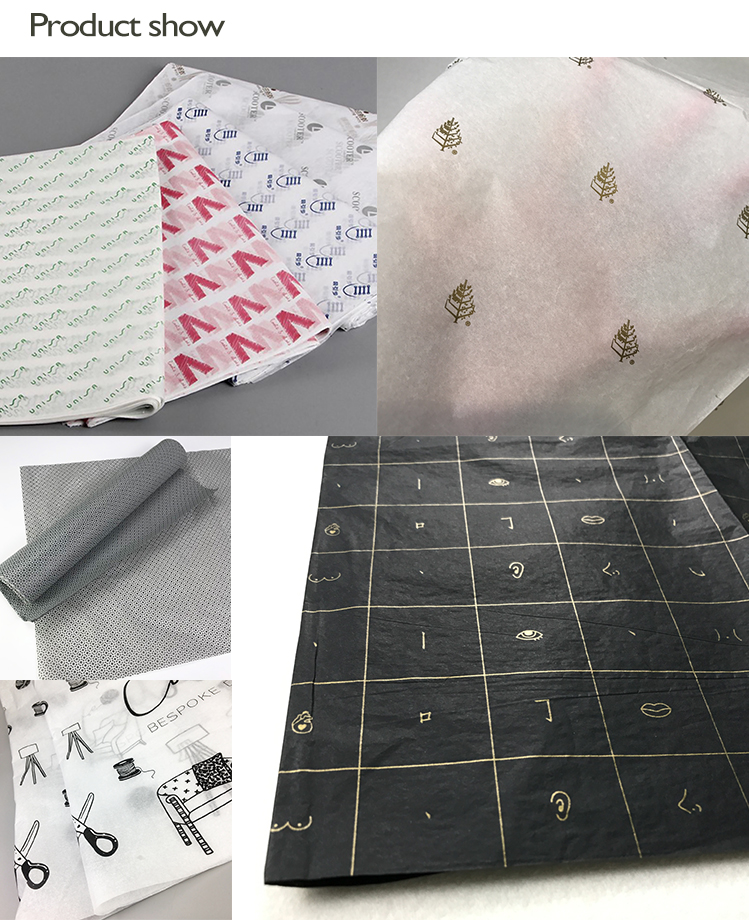 High quality New Design Printed Custom Logo 27GSM Tissue Paper for Gift Wrapping