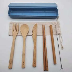 Eco-friendly 7pcs/ Set Bamboo Cutlery Straw Cutlery Set With Cloth Bag Kitchen Cooking Tools bamboo cutlery