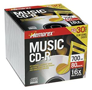 30-pack CDR Media 700MB 80min CD-r80da- for Audio with Slim Jewel