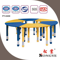 Best quality school Kid's furniture adjustable Big round table PT-0408