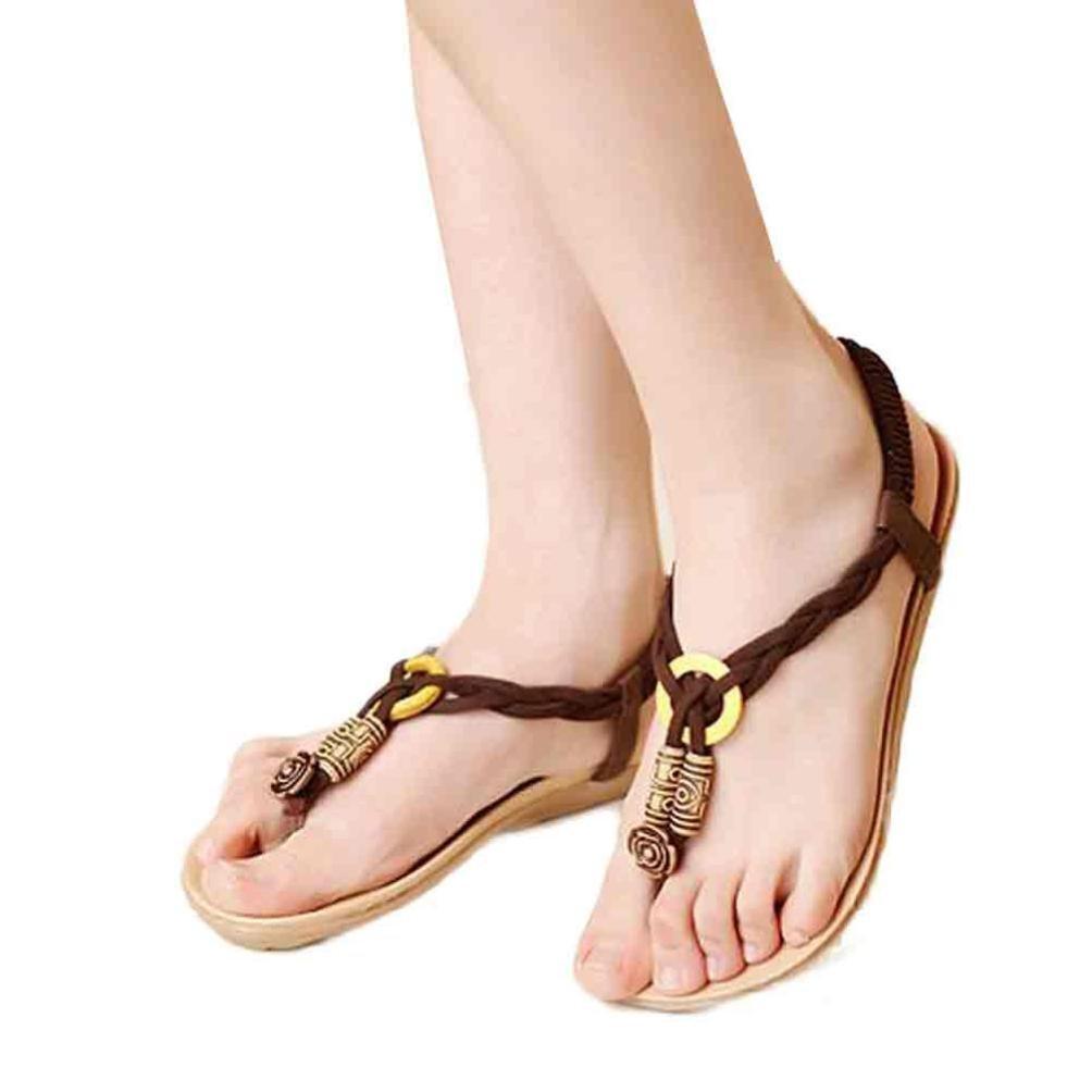 Hunputa Womens Girls Summer Beach Bohemia Sweet Beaded Sandals Clip Toe Sandals Beach Shoes