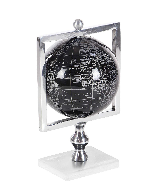 """Deco 79 57370 Aluminum, Marble and Pvc Decorative Globe, 12"""" x 8"""", Silver/Black/White"""
