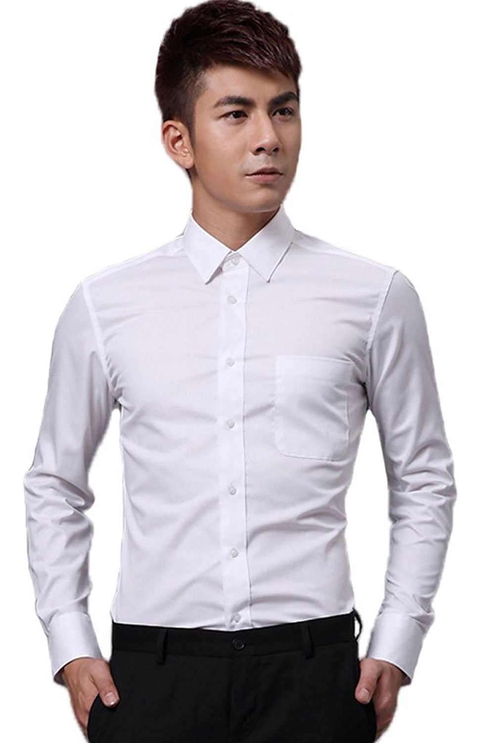 8ba8ce3117c Get Quotations · Soojun Mens Slim Fit Button Up Business Collared Dress  Shirts