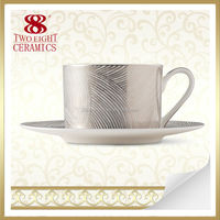 Modern pure silver 990 bone china turkish arabic coffee cups