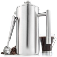 Large Capacity French Press Coffee Maker Hotter For Longer Thermal Brewer Double Wall Insulated Stainless Steel 34 Ounce