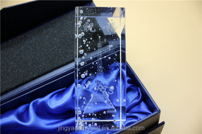 Crystal glass cube with bubble and led light Eiffel Tower