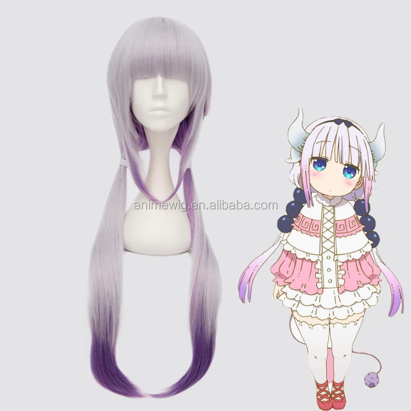 High Quality Kanna Kobayashi Wig Cosplay 80cm Long Straight Purple Mixed Kobayashi Maid Dragon Anime Cosplay Wig фото