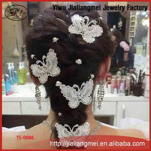 Korean handmade lace Butterfly hairpin wild hair accessories micro modeling beauty bride wedding accessories wholesale