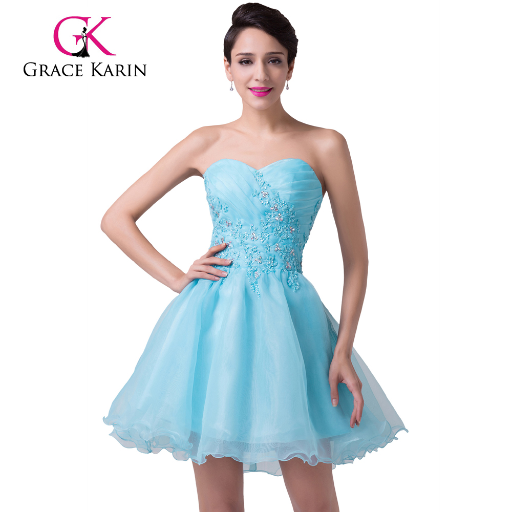 Grace Karin Sexy Strapless Sweetheart Light Blue Beaded Nude Short ...