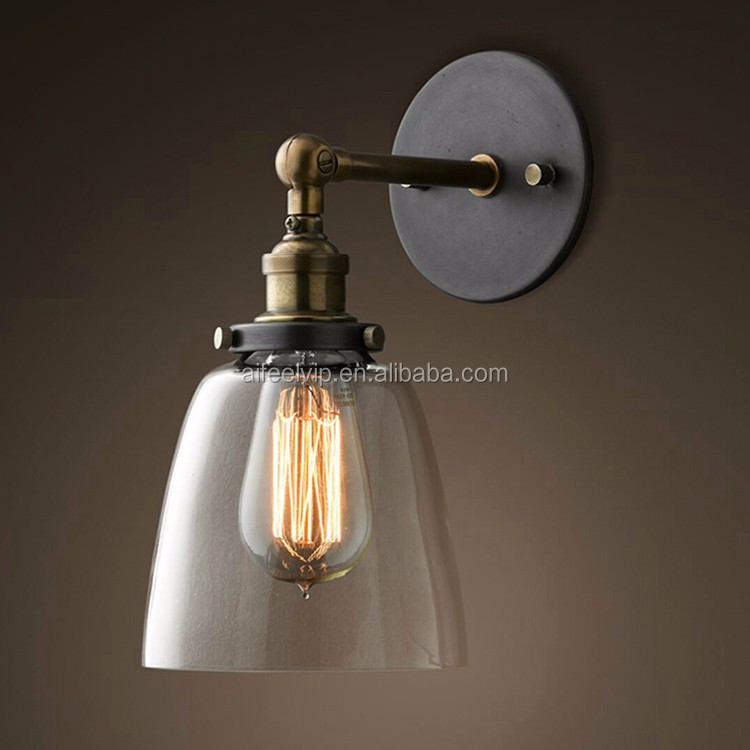 Brass wall lamp holder glass sconce vintage decorative wall mount lamp for coffee shop