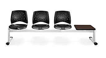 OFM 324T-P-BLK-MH Stars 4-Unit Beam Seating with 3 Plastic Seats and 1 Table