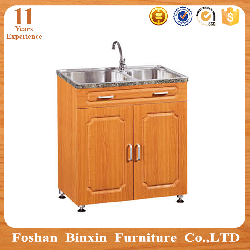 PVC surface MDF kitchen floor cabinet with sink