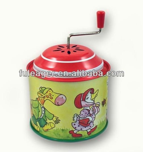 Factory supply Christmas musica tin box, Hand Cranked music box