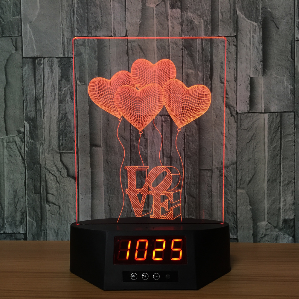 Christmas gift decorative 3D night lamp with clock