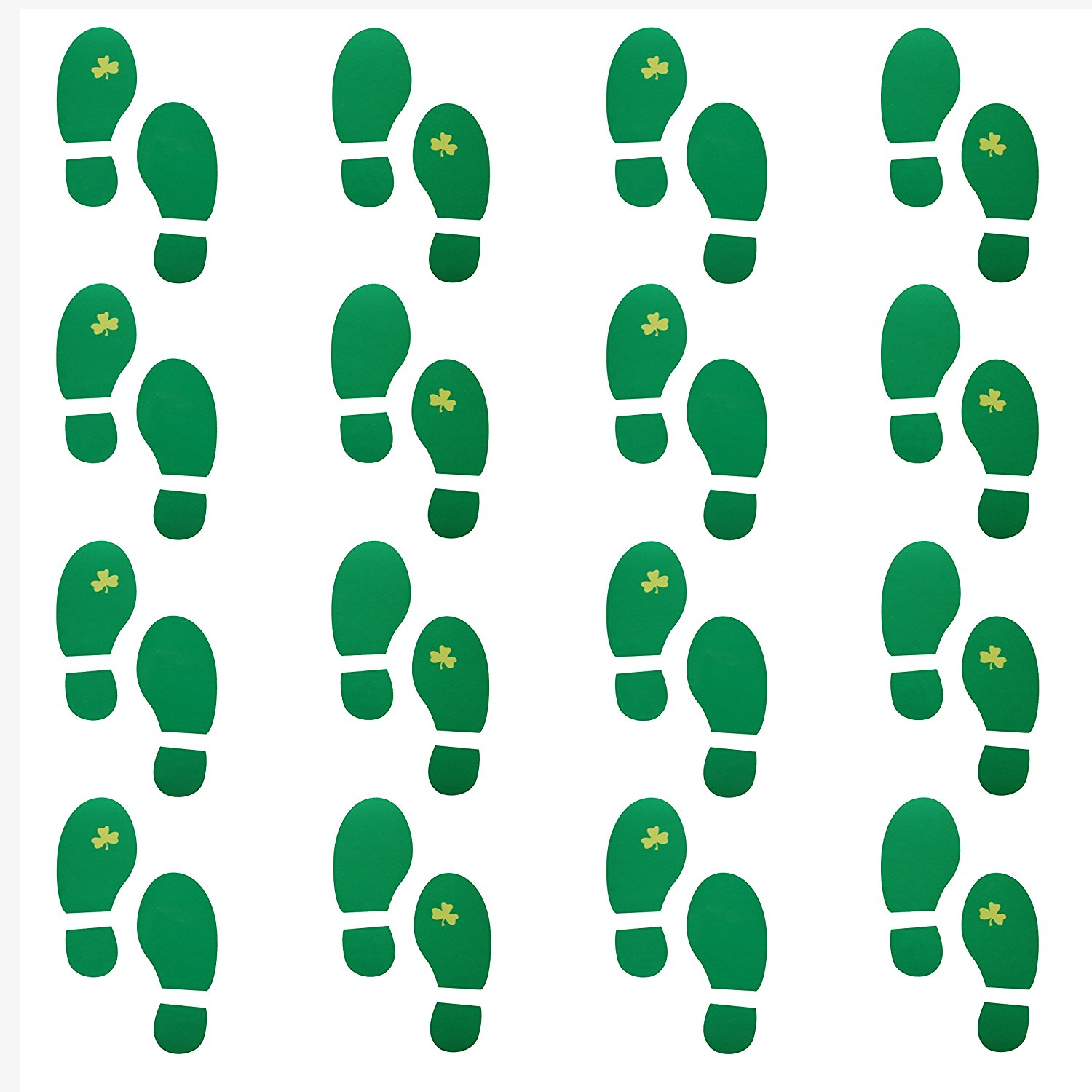 Leprechaun Foot Print Floor Decal Clings (16 Pairs) Floor Stickers for St. Patrick's Day Party Decor/ Green Footprint Stickers for Floors and Walls