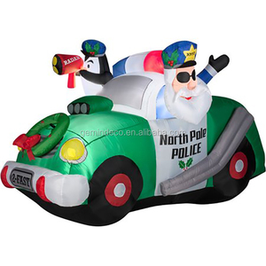 Porch ornament santa and penguin police christmas wreath green white car innovative product