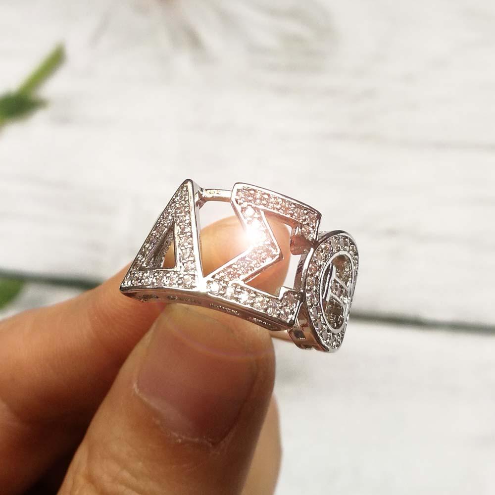 Greece Greek Top quality Cubic zirconia  custom  925 silver  Dst letter Delta Sigma Sorority Ring