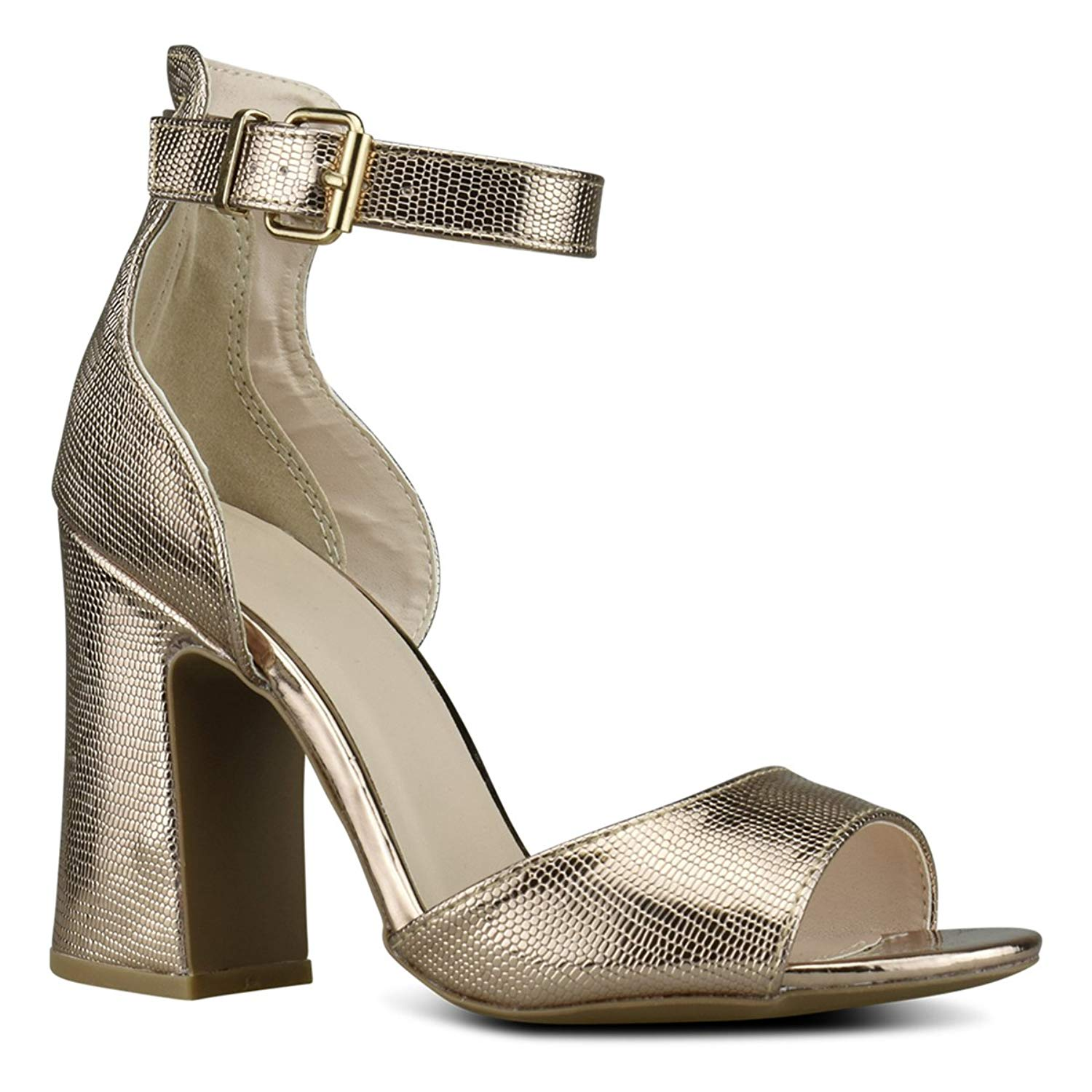 Premier Standard Women's Strappy Open Toe High Chunky Heel - Sexy Stacked Heel Sandal - Cute One Band Strappy Shoe