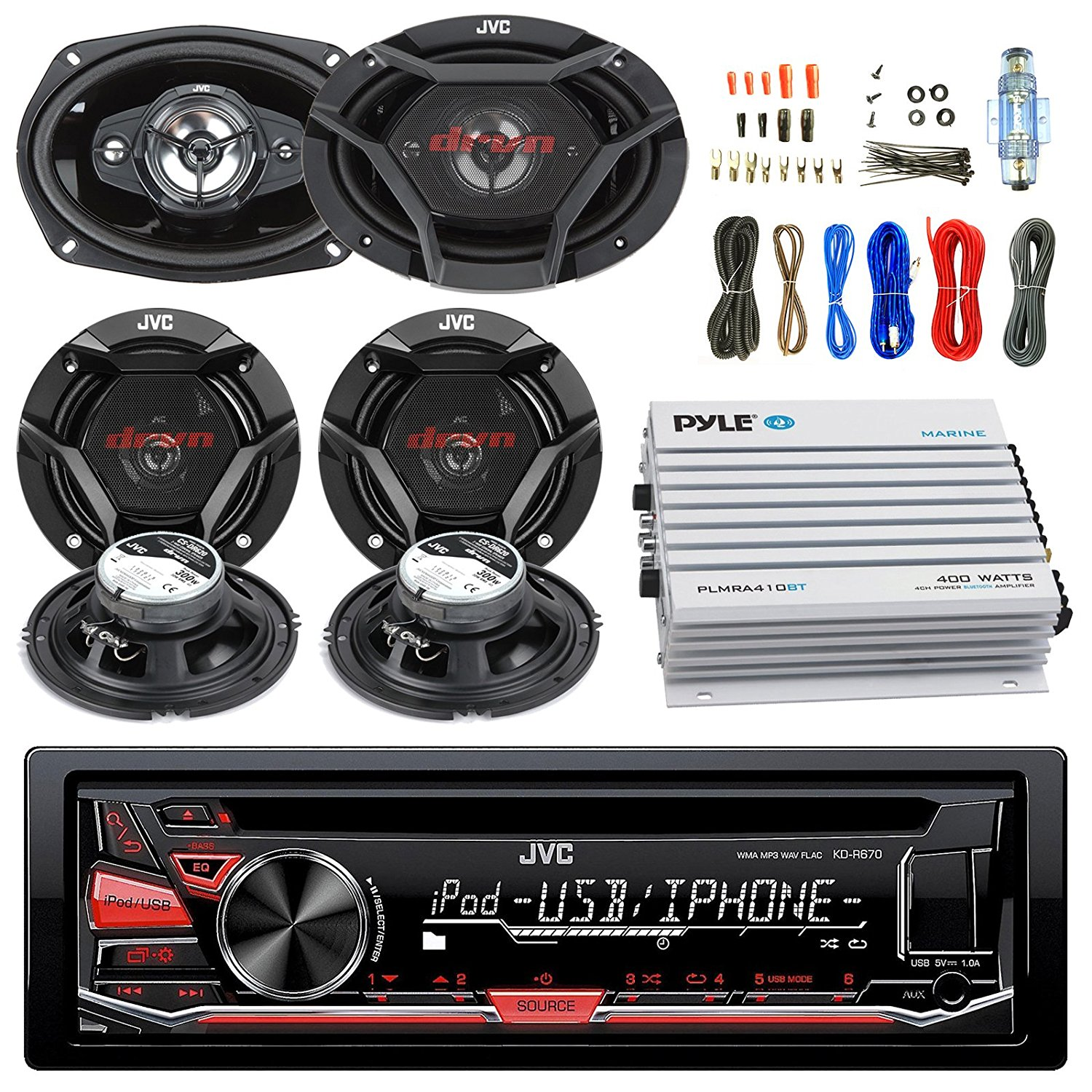"""JVC CD/MP3/WMA Receiver Bundle Combo With 2x CSDR6930 6x9"""" 3-Way Stereo Coaxial Speakers, 4x CSDR620 6.5"""" 2-Way Audio Speaker, 400w 4-Chan Bluetooth Amplifier w/ Enrock Installation Kit"""