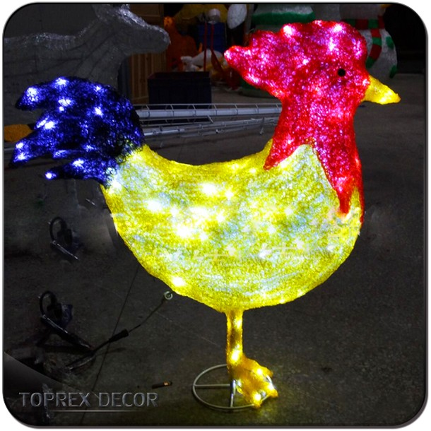 Outdoor Lighted Christmas Chicken Outdoor Decoration For