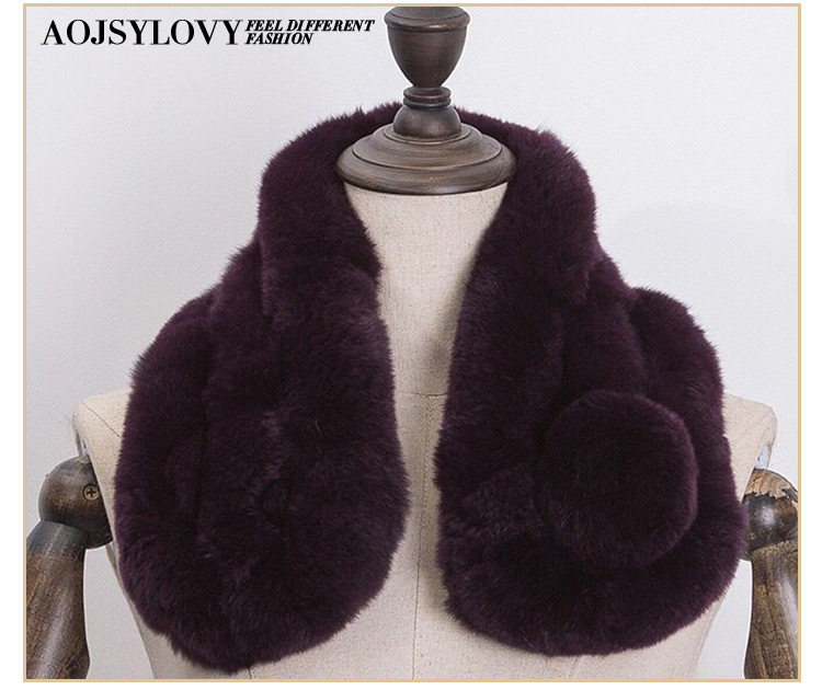Real winter warm fashion knit rabbit fur scarf for women
