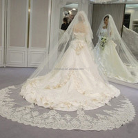 3m velos de novia 3 Meters 2T White&Ivory Sequins Blings Sparkling Lace Purfle Long Cathedral Wedding Veils BV021