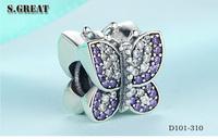 16 wholesale new design beads fit pandora bracelet 925 sterling silver butterfly charms fit pandora bracelet