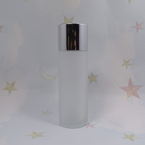 Empty cylinder 100ml clear frosted cosmetic toner bottle for lotion packaging