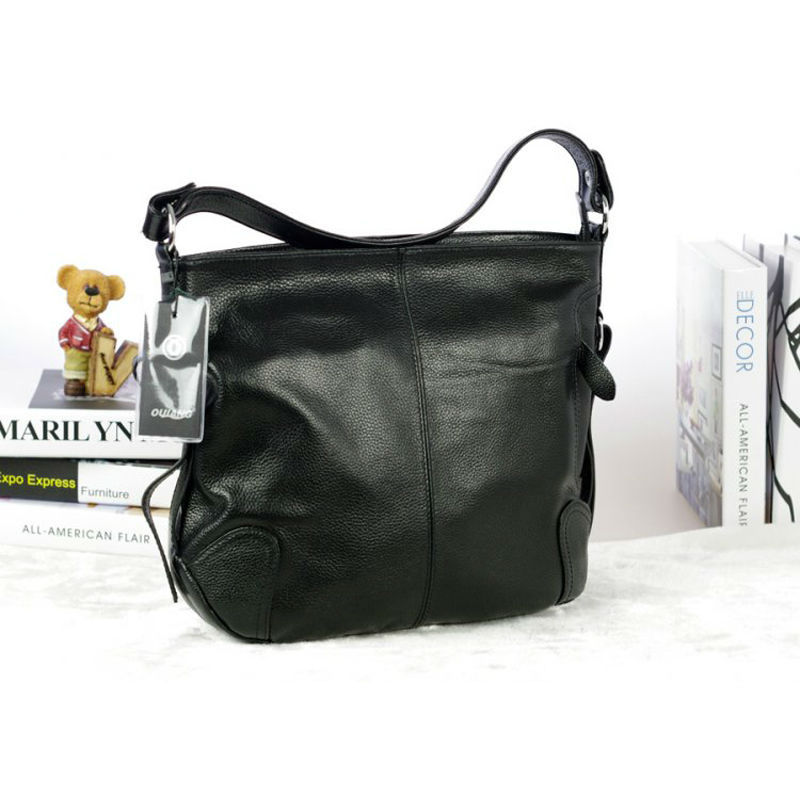 Women Shoulder Bag New Design Fashion Genuine Calfskin Leather Bag Black Pure Color Women Handbags Shoulder Bags LD1001