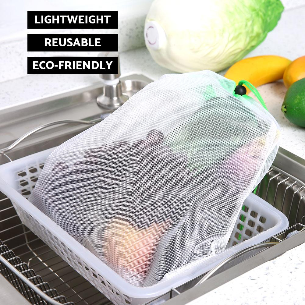 12pcs/set Reusable Mesh Produce Bags Washable Eco Friendly for Grocery Shopping