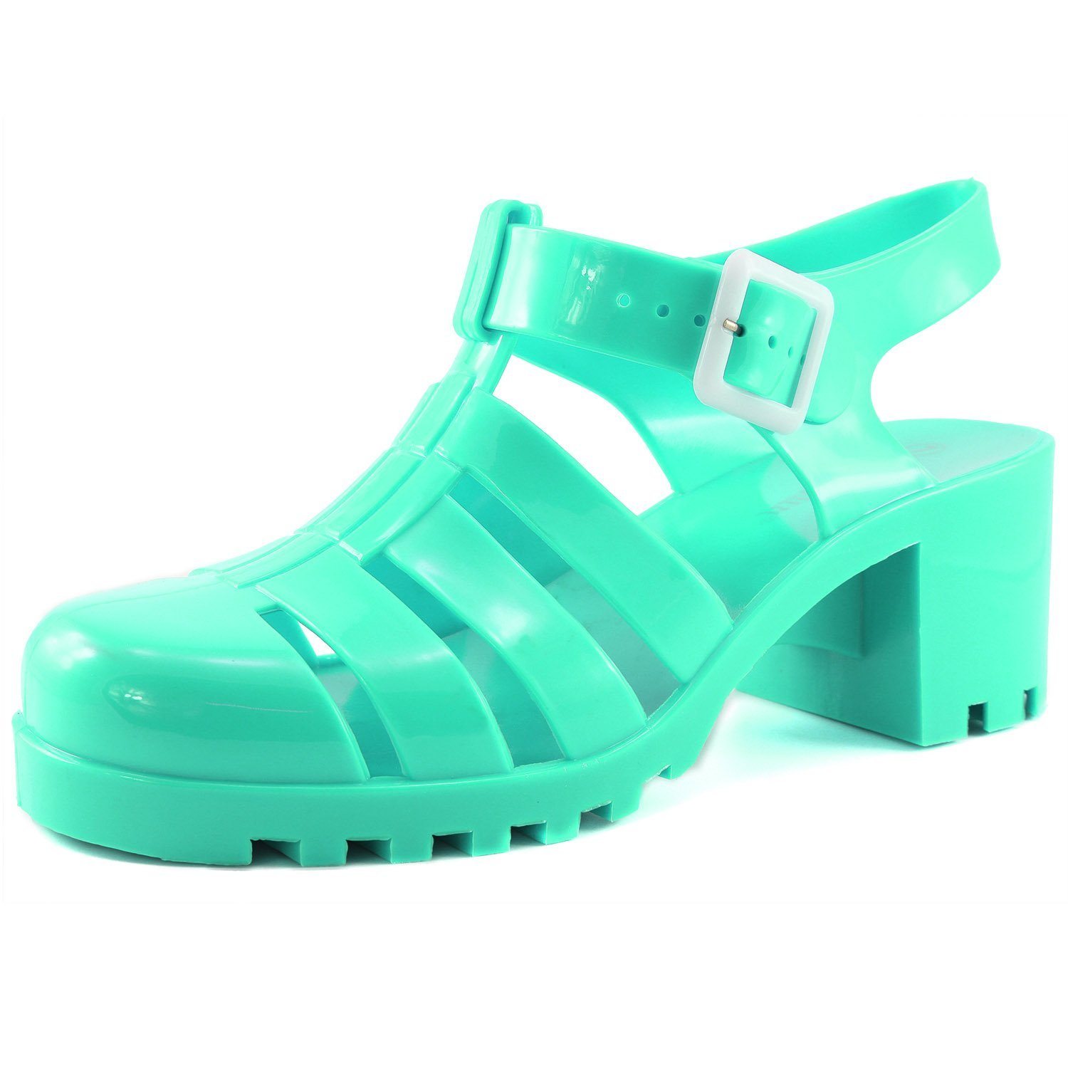 9ffa24a50ed3 Get Quotations · Nature Breeze Women's Chunky High Heels Jelly Round Toe  Strappy Plastic Caged Gladiator Sandal Shoes