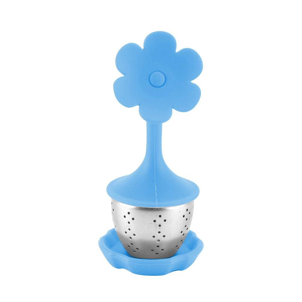 Loose Leaf Tea Infuser with BPA-Free Silicone Lid and Drip Tray Hotsaleglobal 1 Piece Fine Stainless Steel Tea Strainer for All Types of Loose Leaf Tea (Blue Flower)