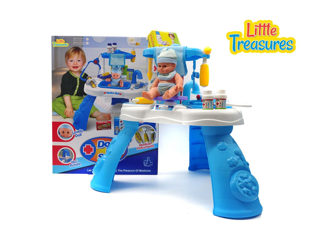 Little Treasures Doctor Play Set – Complete with Medical Station, Sink, Medical Instruments, and Supplies – pretend Dr nurse 21+ pieces play toy set for children 3+