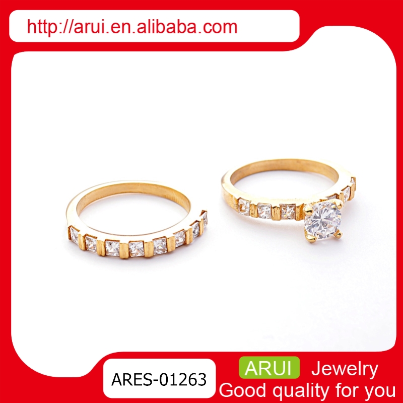 New Marry Duai Gold Large Stone Jewelry Ring Designs Couple Rings