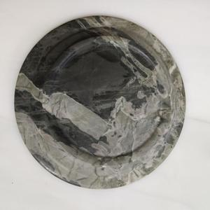 New Design Natural Stone Round Food Plate platter Light Green Marble Dishes