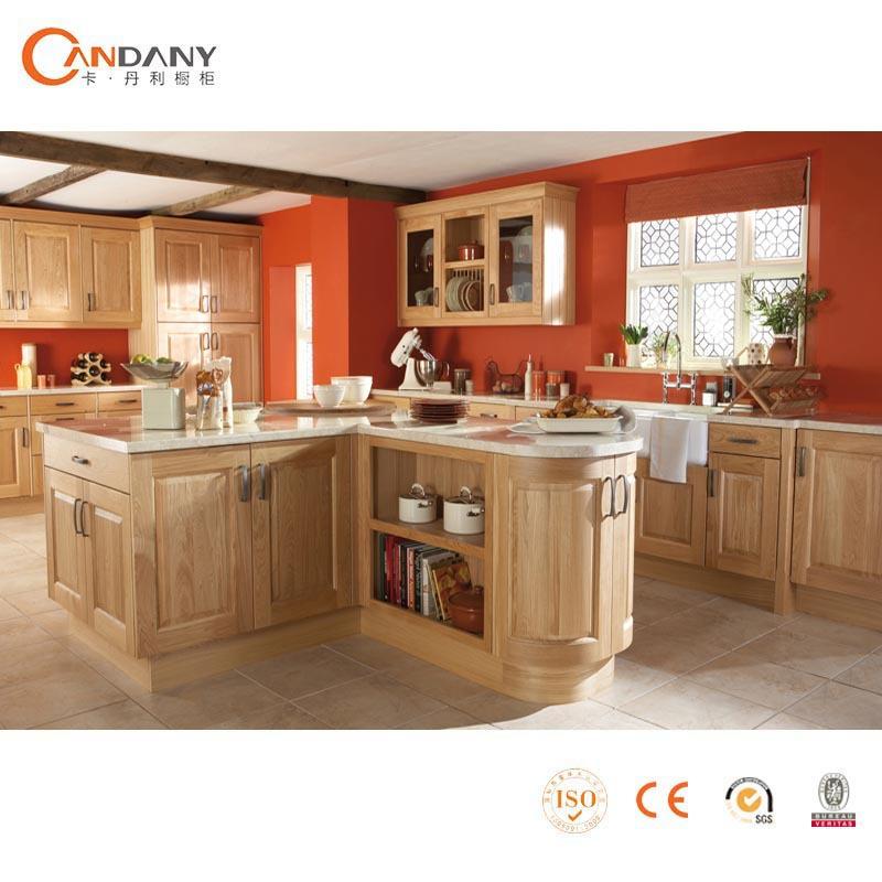 Candany Amerika A Tradisional Dapur Kayu Polos Desain Kabinet Lemari Pintu Kaca Cabinet
