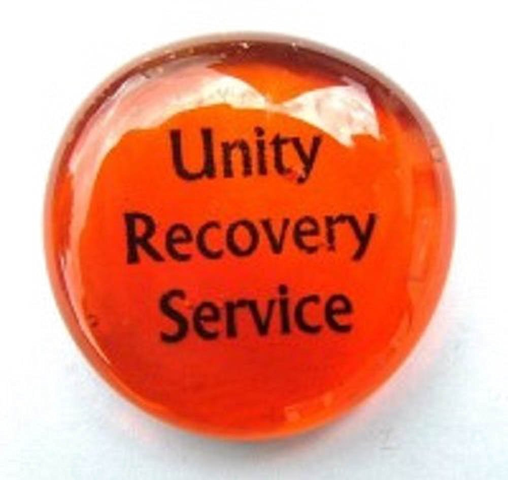 Unity Recovery Service Colored Glass Imprinted Recovery Sobriety Stones