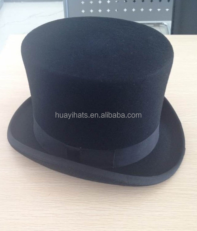 100% wool felt black round mini top hat