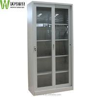 China office 4 adjustable shelves glass sliding door cabinet,metal garage storage cabinet