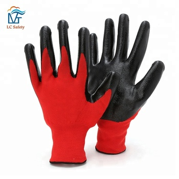 Red Nylon Knitted Black Nitrile Coated Working Gloves
