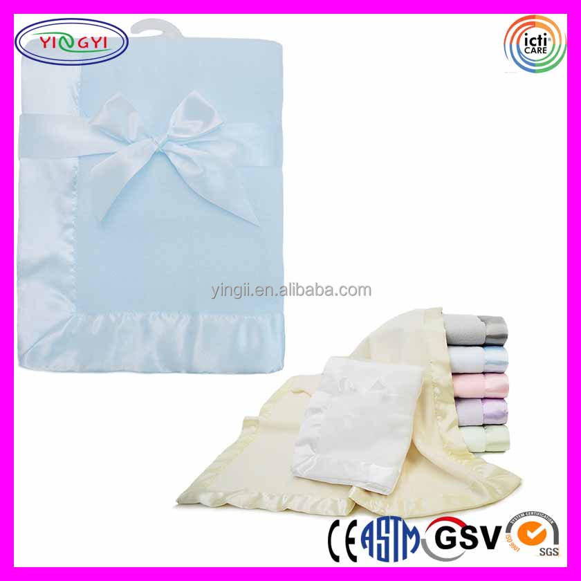 "C794 Acrylic Fleece Baby Blanket with 2"" Satin Trim Baby Receiving 100% Acrylic Blanket"