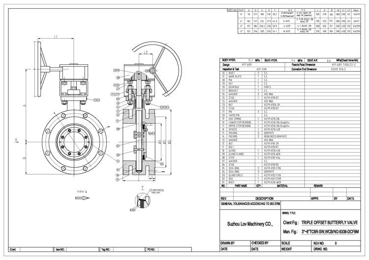 API607 WCB金属密封三偏心气动气动法兰蝶阀价格