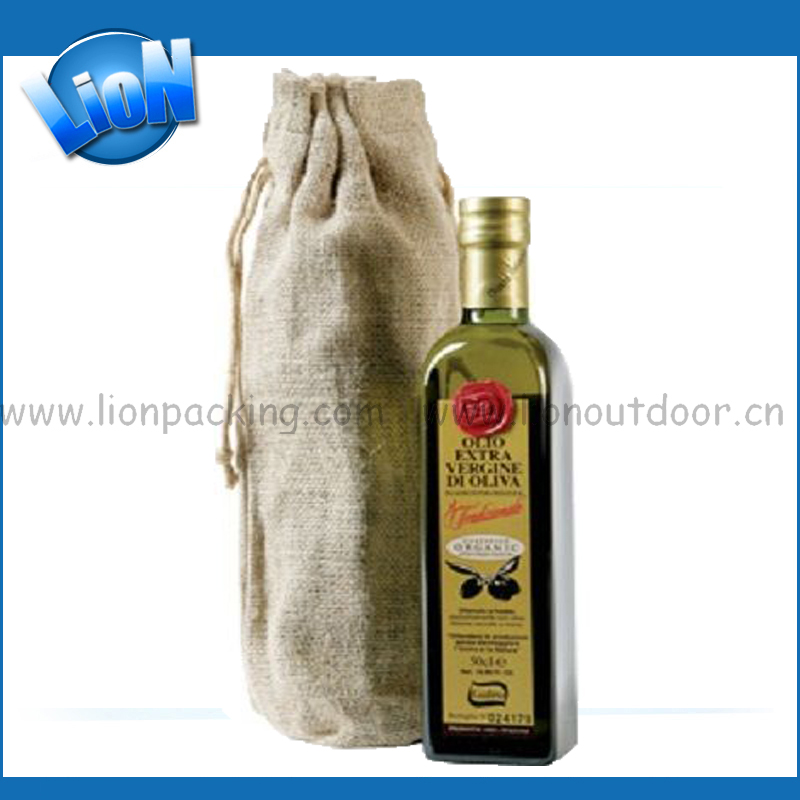 Drawstring jute shoes pouch rice/wine bag oil packing pouch bag