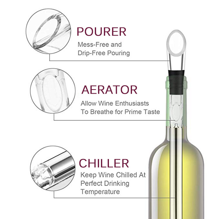 Reusable  Stainless Steel Wine Bottle Chiller Stick with Aerator