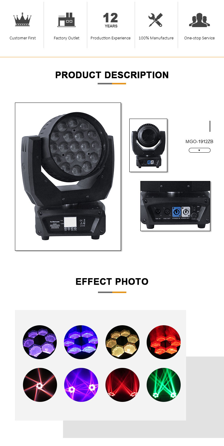 Latest desirable MANGO-1912ZB led stage lighting bee eye moving head light dj