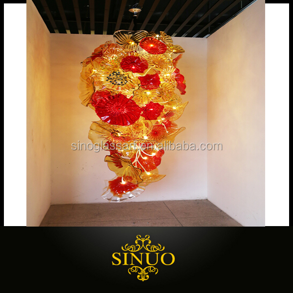 Abstract Blown Murano Glass Plates Chandelier