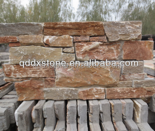 exterior rusty yellow culture stone wall cladding
