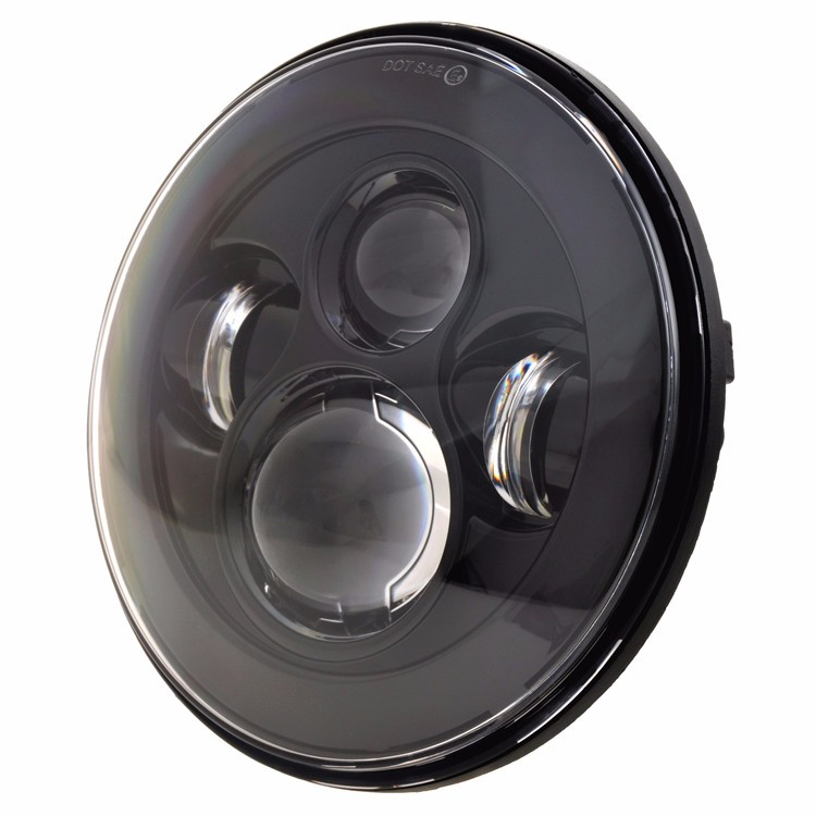 LOYO black chrome 7 inch round led headlight for jeep wrangler headlight
