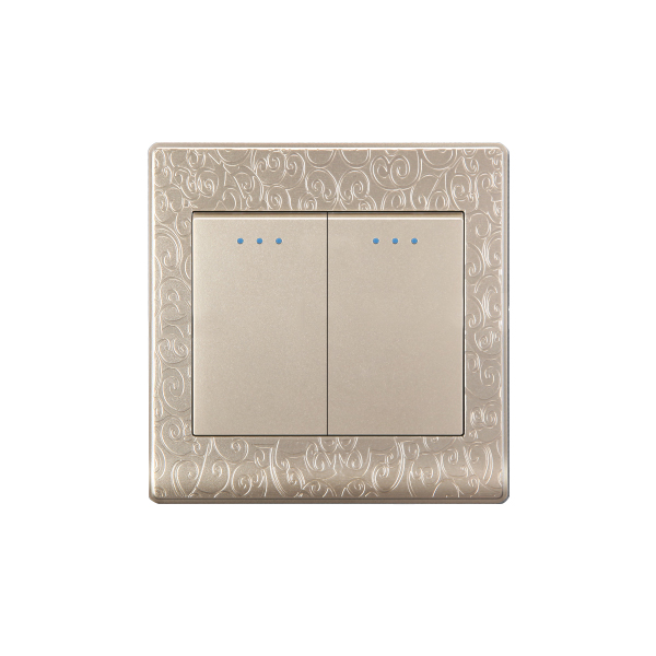 OEM/ODM klasik BS standart 1 Gang 2 yönlü duvar soketi ışık anahtarı çiçek PC paneli elektrik anahtarı ve soket modern 220v
